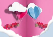 Иллюстрация ко дню всех любовников воздушные шары голубого и розового разбросаны вокруг себя небольшие сердца стоковое фото rf