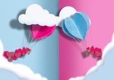 Иллюстрация ко дню всех любовников воздушные шары голубого и розового разбросаны вокруг себя небольшие сердца стоковые изображения