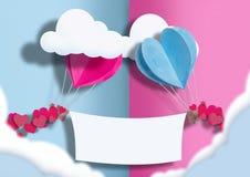 Иллюстрация ко дню всех любовников воздушные шары голубого и розового разбросаны вокруг себя небольшие сердца Между ими стоковое изображение rf