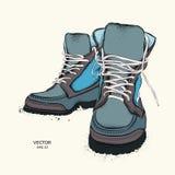 Иллюстрация 2 красивых стильных кожаных ботинка также вектор иллюстрации притяжки corel Стоковые Фотографии RF