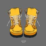 Иллюстрация 2 красивых стильных кожаных ботинка также вектор иллюстрации притяжки corel Стоковое Фото