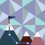 Иллюстрация 3 красочных гор со следом и белой верхней части Snowy с флагом на одном пике предпосылка творческая иллюстрация штока