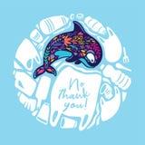 Иллюстрация круга вектора с китом и более пластиковым отходом иллюстрация штока