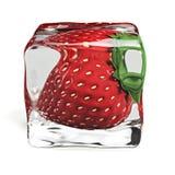 Иллюстрация куба льда 3d клубники Стоковое Изображение