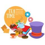 Иллюстрация к приключениям Алисы сказки в стране чудес Помадки и печенья Пурпурные шляпа и обслуживания Шаблон иллюстрация вектора
