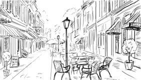 Иллюстрация к старому городку Стоковые Изображения RF