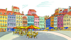 Иллюстрация к старому городку Стоковая Фотография RF