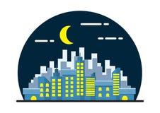 Иллюстрация ландшафта города ночи Стоковые Изображения