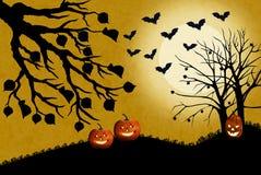 Иллюстрация ландшафта хеллоуина с тыквами в мертвой траве Блески луны яркие и летучие мыши летают звероловство для насекомых иллюстрация вектора