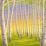Иллюстрация леса березы цифровая Стоковые Изображения RF