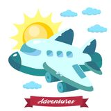 Иллюстрация летания самолета в небе Стоковое Фото