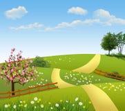 Иллюстрация лета поля и загородки иллюстрация штока