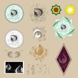Иллюстрация лист дерева с орнаментальными картинами семян и диаграмм, рисуя для личной пользы в эмблеме или оболочке иллюстрация штока