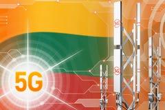 Иллюстрация Литвы 5G промышленная, большой клетчатый рангоут сети или башня на предпосылке с флагом - hi-техника иллюстрации 3D иллюстрация штока