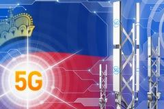 Иллюстрация Лихтенштейна 5G промышленная, огромный клетчатый рангоут сети или башня на цифровой предпосылке с флагом - 3D бесплатная иллюстрация