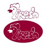 Иллюстрация логотипа фермы цыпленка и яичек Естественная и свежая ферма иллюстрация вектора