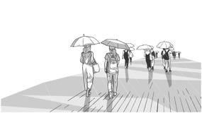 Иллюстрация людей идя в дождь с зонтиками в перспективе иллюстрация вектора