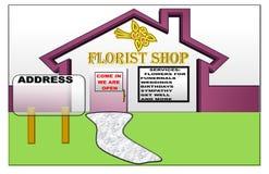 Иллюстрация магазина флориста с космосом для адреса иллюстрация штока