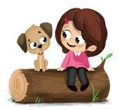 Иллюстрация маленькой девочки и щенка Стоковое Изображение RF