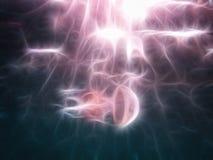 Иллюстрация, медуза под водой Стоковые Изображения RF