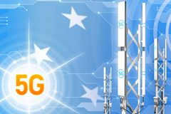 Иллюстрация Микронезия 5G промышленная, большой клетчатый рангоут сети или башня на современной предпосылке с флагом - иллюстраци иллюстрация штока