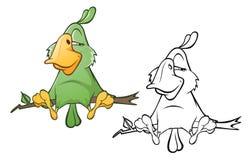 Иллюстрация милого зеленого попугая головка дерзких милых собак персонажа из мультфильма предпосылки счастливая изолировала белиз бесплатная иллюстрация