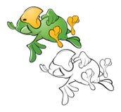 Иллюстрация милого зеленого попугая головка дерзких милых собак персонажа из мультфильма предпосылки счастливая изолировала белиз иллюстрация штока