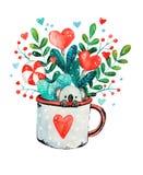 Иллюстрация милой маленькой коалы в кружке стоковые изображения