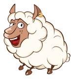 Иллюстрация милой овцы головка дерзких милых собак персонажа из мультфильма предпосылки счастливая изолировала белизну усмешки Стоковая Фотография