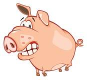 Иллюстрация милой свиньи головка дерзких милых собак персонажа из мультфильма предпосылки счастливая изолировала белизну усмешки Стоковые Изображения