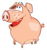 Иллюстрация милой свиньи головка дерзких милых собак персонажа из мультфильма предпосылки счастливая изолировала белизну усмешки Стоковое Изображение RF