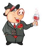 Иллюстрация милой свиньи головка дерзких милых собак персонажа из мультфильма предпосылки счастливая изолировала белизну усмешки Стоковые Фотографии RF
