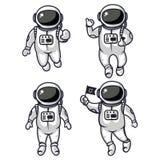 Иллюстрация 4 милых астронавтов бесплатная иллюстрация