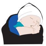 иллюстрация младенца всасывая большой пец руки Стоковое Фото
