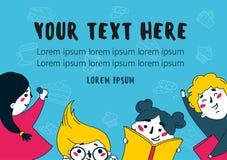 Иллюстрация много книг чтения детей плоская Стоковые Фото