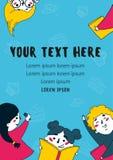 Иллюстрация много книг чтения детей плоская Стоковое Изображение