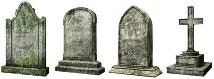 Иллюстрация могильных камней 3D Стоковое Изображение