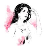 Иллюстрация моды, портрет женщины иллюстрация вектора