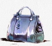 Иллюстрация моды с портмонем, женской голубой стильной сумкой иллюстрация вектора