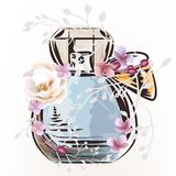 Иллюстрация моды с флаконом духов и розовым цветком иллюстрация вектора