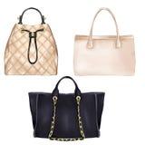 Иллюстрация моды - diifferent типы сумок руки женщин стоковые фото