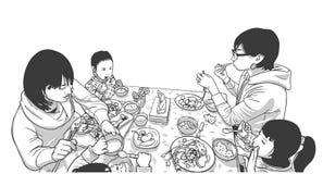 Иллюстрация молодых матерей и детей наслаждаясь едой иллюстрация вектора