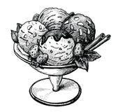Иллюстрация мороженого нарисованная рукой Стоковая Фотография RF