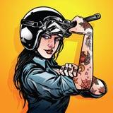 Иллюстрация мотоцикла велосипедистов дамы иллюстрация вектора