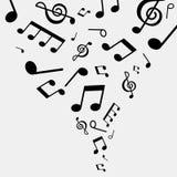 Иллюстрация музыкальных примечаний, черно-белый цвет Стоковое Фото