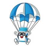 Иллюстрация мультфильма вектора талисмана молока skydiving бесплатная иллюстрация