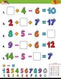 Иллюстрация мультфильма воспитательного математического рабочего листа вычисления для детей бесплатная иллюстрация