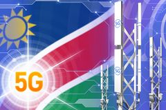 Иллюстрация Намибии 5G промышленная, огромный клетчатый рангоут сети или башня на цифровой предпосылке с флагом - иллюстрации 3D иллюстрация штока