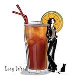 Иллюстрация нарисованная рукой коктеиля с девушкой Стоковое фото RF