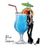 Иллюстрация нарисованная рукой коктеиля с девушкой Стоковое Изображение RF